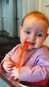 If I eat the spoon, she can't get any food in, ha!