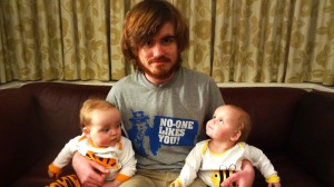 This shot was taken for Granny on Mother's Day, until we realised what Joe's T shirt said!